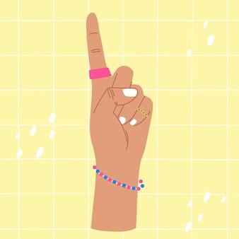 한 손가락 다채로운 그림을 보여주는 손 한 손가락으로 한 손을 세는 손