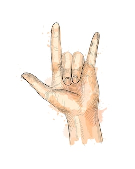 Hand showing rock gesture from a splash of watercolor, hand drawn sketch.  illustration of paints