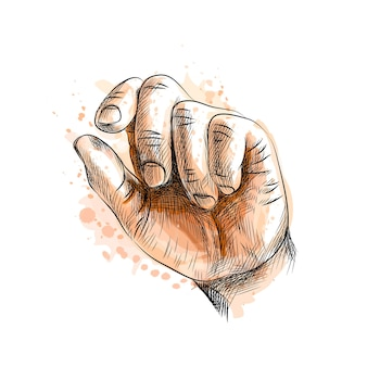 Hand showing size gesture from a splash of watercolor, hand drawn sketch.  illustration of paints