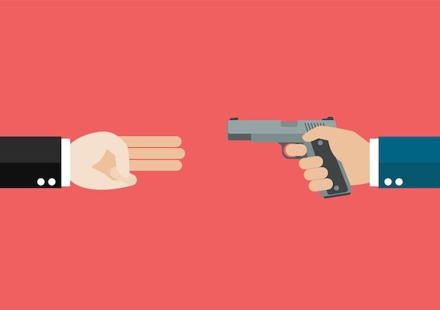 세 손가락을 보여주는 손이 권총을 들고 againts 손을 경례. 정치 개념.