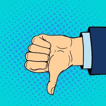 Рука показывая большие пальцы руки вниз глухонемой жест человеческая рука держит связь и дизайн стиля касания кулака касается стиля поп-арта красочной иллюстрации
