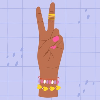 두 손가락 다채로운 그림을 보여주는 손 두 손가락을 들고 두 손을 세는 손