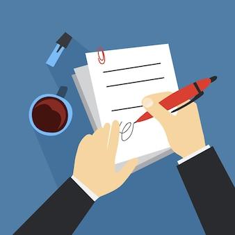 Рука подписать документ с помощью пера. бумажный договор. Premium векторы