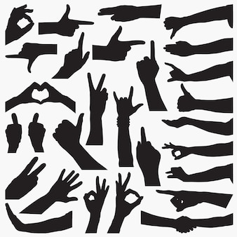 Hand sign silhouettes