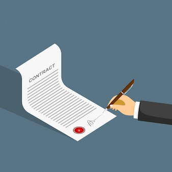 Hand signing contract on white paper. vector illustration