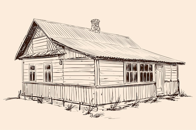 Hand sketch on a beige background. old rustic wooden house in russian style on a stone foundation with a tiled roof.