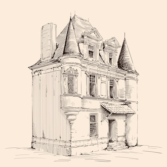 Hand sketch on beige. old brick house with a tiled roof in european style.