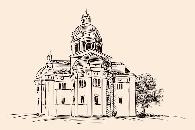ベージュで分離された手のスケッチ。古典的なヨーロッパスタイルの古い教会。