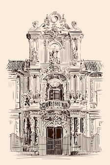 古典的なロココ様式の建物のファサードの手描きのスケッチ。正面玄関。