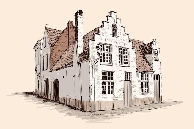 ベージュの背景に手描きのスケッチ。ヨーロッパ風の瓦屋根の古いれんが造りの家。