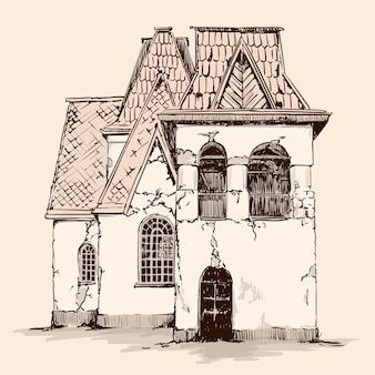 ベージュの背景に手スケッチ。木製の屋根を持つロシア風の古い素朴な石造りの家。
