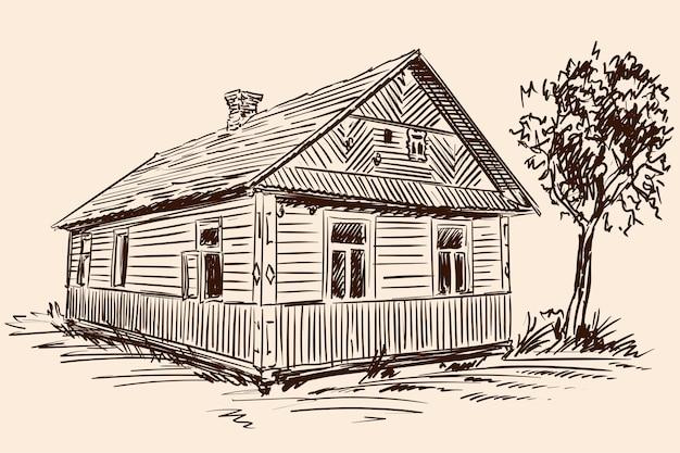 베이지 색 배경에 손으로 스케치합니다. 오래 된 소박한 목조 주택과 건물 근처 나무입니다.
