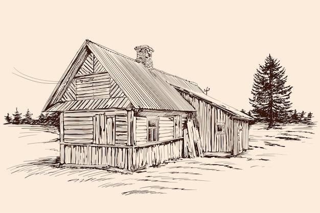 베이지 색 배경에 손으로 스케치합니다. 러시아 스타일과 건물 근처 가문비 나무 나무에 오래 된 소박한 목조 주택.