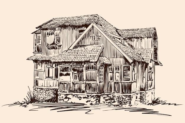 Ручной эскиз на бежевом фоне старый деревенский деревянный дом на каменном фундаменте с черепичной крышей