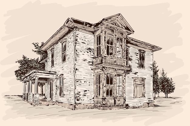 베이지 색에 손으로 스케치합니다. 돌 기초에 버려진 된 오래 된 소박한 목조 주택.