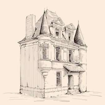 베이지 색에 손으로 스케치합니다. 유럽 스타일의 기와 지붕을 가진 오래 된 벽돌 집. 프리미엄 벡터