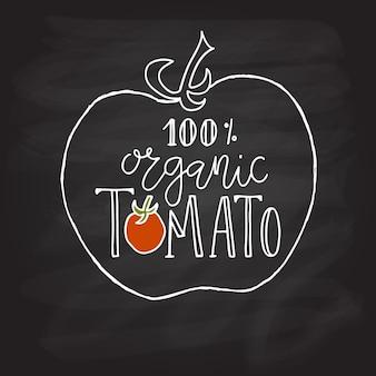 손으로 스케치한 100% 유기농 토마토 레터링 타이포그래피 개념 농민 시장 유기농 식품