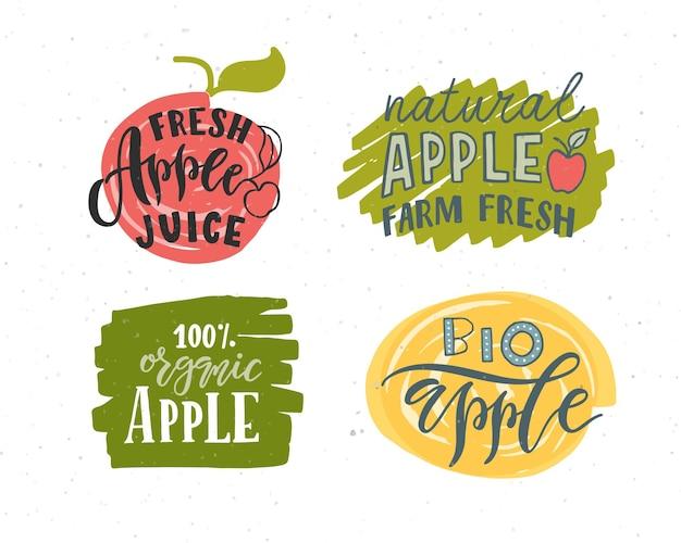 농민 시장 유기농 식품 천연 제품에 대한 손으로 스케치한 사과 글자 인쇄술 개념