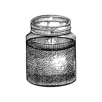불타는 왁스 양초의 손으로 스케치 된 향기로운 촛불 그림