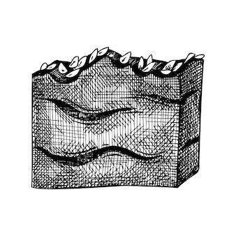 손으로 그린 비누 바의 손으로 스케치 된 아로마 비누 그림 그리기