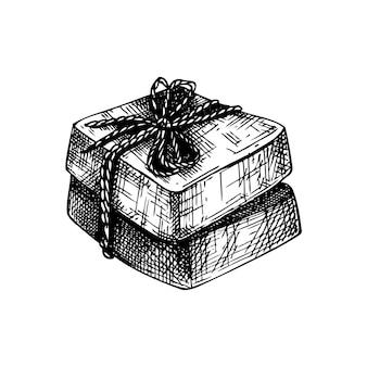 비누 바의 손으로 스케치 된 아로마 비누 그림 그리기