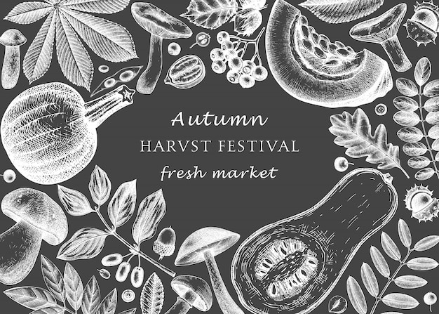 Hand sketched autumn  on chalkboard. elegant and trendy botanical template with autumn leaves, pumpkins, berries, seeds,  bird sketches. perfect for invitation, cards,  menu, label, packaging.