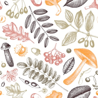 Hand sketched autumn plants seamless pattern.  leaves, berries and mushrooms botanical background. hand drawn autumn garden backdrop. vintage forest plants, mushrooms, fallen leaves sketches.