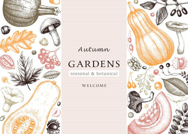 Hand sketched autumn  in vintage colors. elegant and trendy botanical template with autumn leaves, pumpkins, berries,mushrooms sketches. perfect for invitation, cards, flyers, menu, packaging.