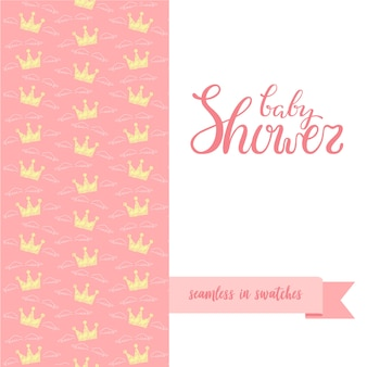 Hand sketched baby shower poster with seamless pattern.