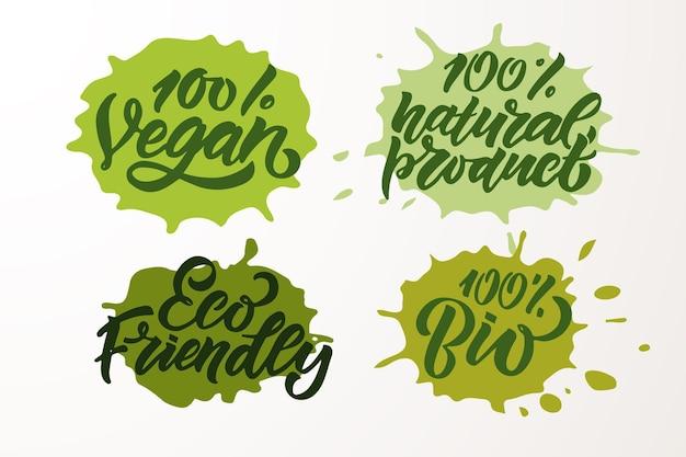 채식 비건 원시 에코 바이오 천연 신선한 글루텐 및 gmo가 없는 손으로 스케치한 배지 및 라벨