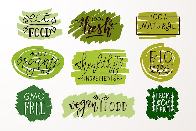 Hand sketched badges and labels with vegetarian vegan raw eco bio natural fresh gluten eps 10