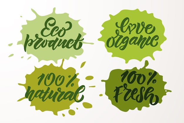 Hand sketched badges and labels with vegetarian vegan raw eco bio natural fresh gluten eps10