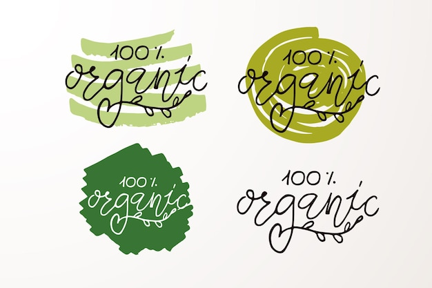 Hand sketched badges and labels with vegetarian vegan raw eco bio natural fresh gluten and gmo free