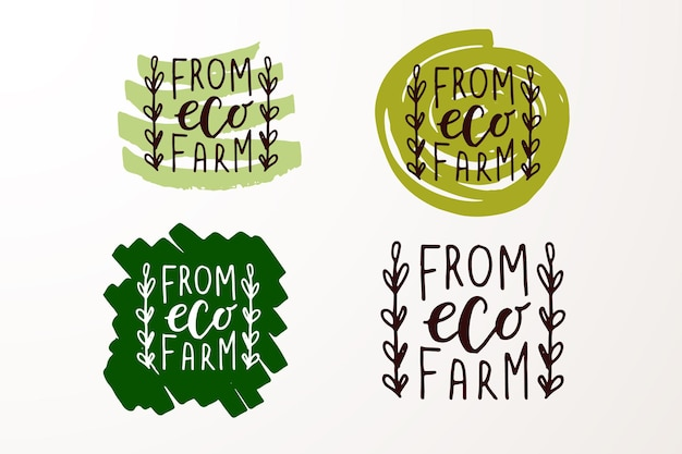 Hand sketched badges and labels with vegetarian vegan raw eco bio natural fresh gluten and gmo