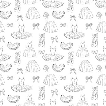 Hand sketched  ballet dresses and shoes seamless pattern