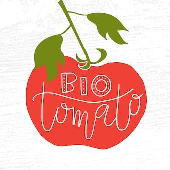 농민 시장 유기농 식품 자연을 위한 손으로 스케치한 바이오 토마토 레터링 타이포그래피 개념