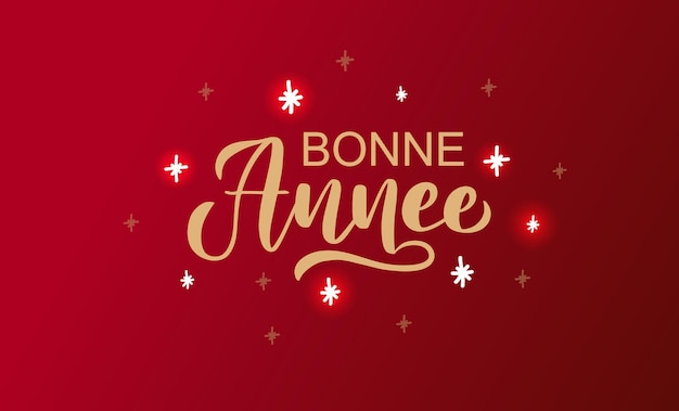 Hand sketched bonne annee happy new year english card badge icon typography lettering bonne annee