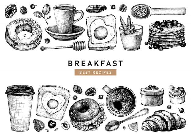 Рука набросал собрание иллюстраций завтрака. шаблон меню утренней еды и горячих напитков. предпосылка блюд завтрака и позднего завтрака. урожай рисованной эскизы еды.