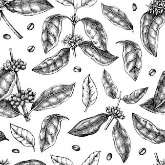 手スケッチコーヒー植物シームレスパターン