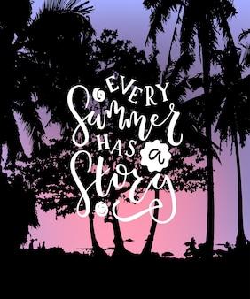 毎年夏に手描きでロゴタイプのバッジとアイコンとしてストーリーテキストがあります夏のポストカードカード