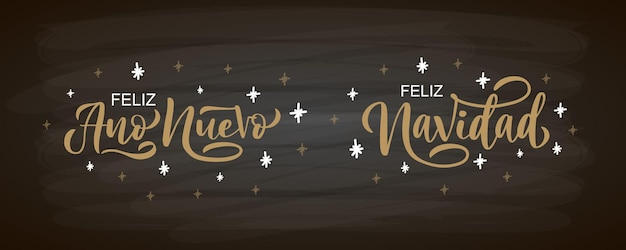 Hand sketched feliz navidad happy new year spanish card badge icon typography lettering feliz