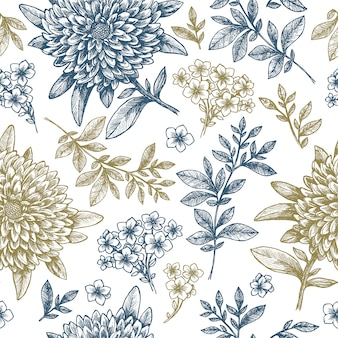 Hand sketched floral seamless pattern