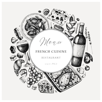 Hand sketched french cuisine vinatge . delicatessen food and drinks trendy background. perfect for recipe, menu, label, icon, packaging. vintage french food  and beverages template.