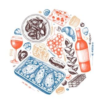Рука сделала эскиз к иллюстрации французской еды и напитков. модный состав французской кухни. идеально подходит для рецепта, меню, этикетки, значка, упаковки. винтажная еда и напитки шаблон. иллюстрация ресторана