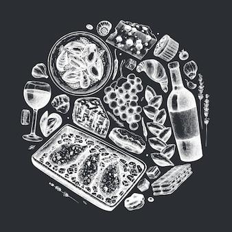 手は、黒板にフランスの食べ物や飲み物のイラストをスケッチしました。フランス料理の流行組成。レシピ、メニュー、ラベル、アイコン、パッケージに最適です。ヴィンテージの食品および飲料のテンプレート。