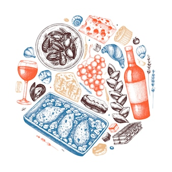 Hand sketched french food and drinks illustration. french cuisine trendy composition. perfect for recipe, menu, label, icon, packaging. vintage food and beverages template. restaurant illustration