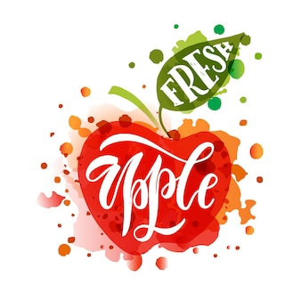 Hand sketched fresh apple lettering typography farmers market organic food natural product juice