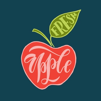 Hand sketched fresh apple lettering typography farmers market organic food and natural product