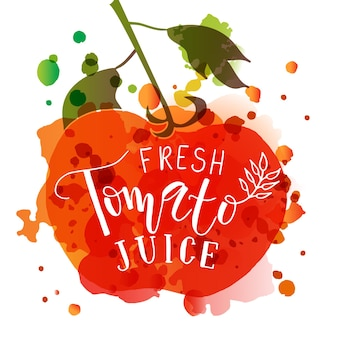 농민 시장 유기농 식품을 위한 손으로 스케치한 신선한 토마토 주스 레터링 타이포그래피 개념