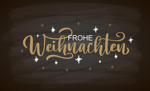 Hand sketched frohe weihnachten card badge icon typography lettering frohe weihnachten for christmas